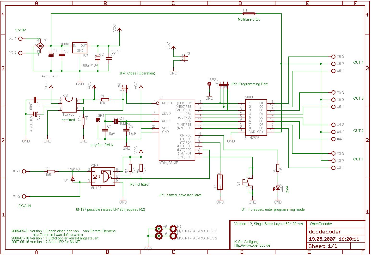 OpenDecoder - for DCC - Schematics